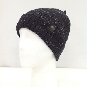 New Next Hat Beanie One Size Blue Black Knitted Fleece Lined Outdoor Wear 471332