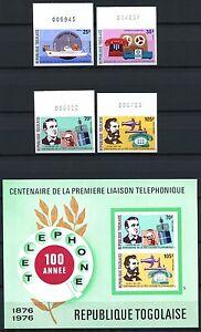 227/SPACE RAUMFAHRT 1976 Togo Telefon Telephone 1150-43 + Bl.102 B Imperf ** MNH