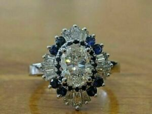 2Ct Oval Cut VVS1/D Diamond & Sapphire Halo Engagement Ring 14K White Gold Over