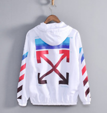 Unisex #OFF#WHITE Hiphop Zipper Jacket Standing Collar Sun Protection Clothing