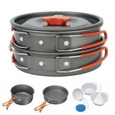 8pcs Outdoor Cooking Camping Hiking Cookware Picnic Bowl Pot Pan Portable set