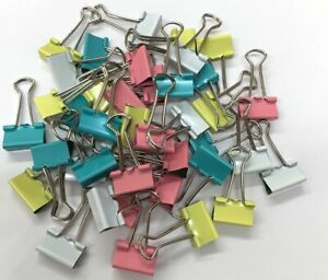 Pack of 40 Small 19mm Coloured Foldback Binder Metal Clips