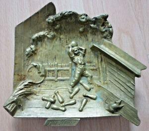 Aschenbecher, Kegler, Kegelverein um 1920, Messing, antik           (Art.5258)