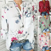 Women Plus Size Chiffon Floral Print Long Sleeve Blouse Casual Loose Tops Shirts