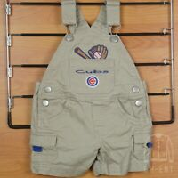 Baby Boy Girl Chicago Cubs Baseball Logo Tan Overalls Shorts Sz 6-9 Months