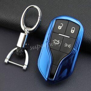 For Maserati Ghibli/Levante/Quattroporte Smart Key Fob Chain Cover Case Blue