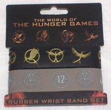 THE WORLD OF THE HUNGER GAMES Rubber Wrist Band Set NEW!!!