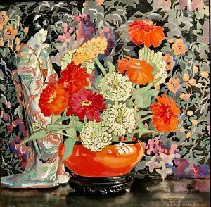 ELEANOR PARKE CUSTIS(1897-1983)Colorful Gouache,Oriental Vase Zinnias Still Life