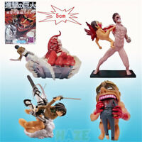 4pcs Attack on Titan Eren Jaeger Scenes PVC Action Figure 5-10cm Model Present