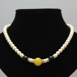 Fashion 7-8mm natural agate freshwater cultured round white pearl necklace 17""