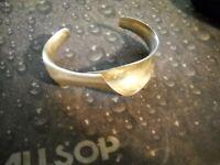 ~Signed PJ Sterling Modernist Cuff Bracelet~