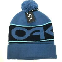 OAKLEY Beanie Factory Cuff Winter Pom Hat Blue Ski Snowboard NEW $30 Spell Out