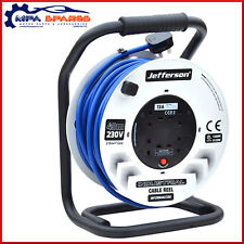 INDUSTRIAL 40M MAINS EXTENSION CABLE REEL - 4 SOCKETS 13A 2.5mm2 CORE