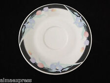 Caravel by Excel China Floral Iris & Tulip, Black Border - TEA CUP SAUCER