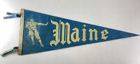 Vintage Maine University Black Bears Football Pennant Blue & White Player