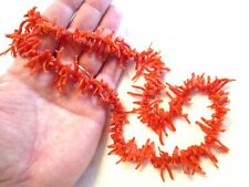 Early Antique Vintage Natural Red Branch Coral Beaded Necklace - Victorian
