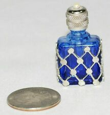 Antique Vintage Miniature French Perfume Bottle Blue Glass w/Pearl Top SGD