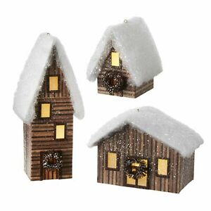 Raz Imports 2021 6.75-inch Lighted Cabin Ornament, Assortment of 3