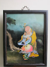 Chinese Antique (18thc) Reverse Painting on Glass -Longevity ShouLao Peach- RARE