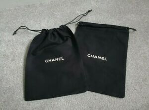 2 NEW CHANEL BLACK LOGO JEWELLERY OR SMALL BAG PURSE DUST BAG COVER POUCH
