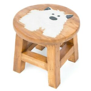 Child's Kids Children Rustic Milking Wooden Stool WHITE DOG Stool - FU-549-WD