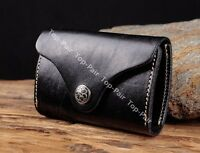 C86 Black Cool Mens Real Leather Car Key Case Card Holder Keychain For Women
