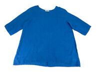 Bryn Walker Women's Linen Tunic Top Size Medium Blue Short Sleeve Oversized