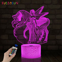 Unicorn Night Light for Kids Girl Gifts 16 Colors 3D Illusion Decor Table Lamp