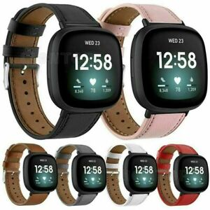 Genuine Leather Strap Watch Band Buckle Wristband For Fitbit Versa 3 / Sense
