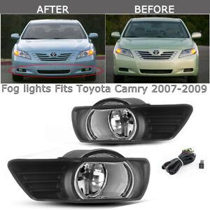 2007 2008 2009 TOYOTA CAMRY YELLOW BUMPER FOG LIGHT LAMP+CHROME TRIM COVIER+BULB