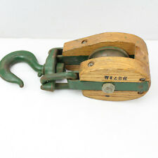 VTG Wood Rope Block And Tackle Pulley Nautical Maritime Ship Wooden Single Hook