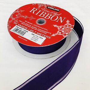 "Roll Designer Ribbon 14 Yards Woven Deep Purple 2"" Wide Wired Edge"