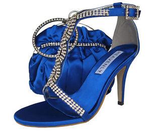 Ladies Wedding Party Heel Shoe Evening Sandal Diamante Bright Royal Blue NEW UK3