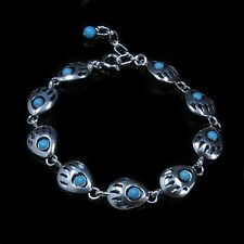 PETITE .925 Sterling Silver Natural Sleeping Beauty Turquoise Bear Paw Bracelet