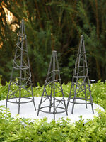 Miniature Dollhouse FAIRY GARDEN Furniture ~ Rustic Iron Set / 3 Obelisk Trellis