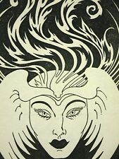 Don Blanding 1946 WOMAN in BIRD HAT Art Deco Print Matted