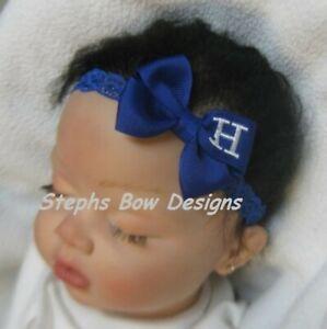 Royal Blue Monogram Dainty Hair Bow Headband Personalized 4 Preemie 2 Toddler