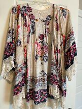 Umgee Plus USA Kimono Sz XL/1XL Lace Edge Floral Grey Brown Plum Cardigan 4 Fall