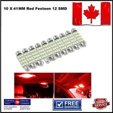 10 X Festoon Xenon RED 41mm LED Dome Light Bulb 12 SMD LED chips Interior 3528