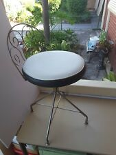 Vintage Retro Metal Bedroom  round vinyl seat  rotates  1950s/60s