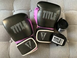 Title Boxing Purple & Black Gel Lining Boxing Gloves Kickboxing Small w/ Wraps