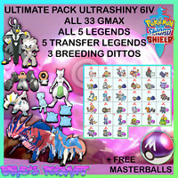 Pokemon SWORD and SHIELD ✨6IV SHINY ULTIMATE PACK✨ 33 GMAX, 10 LEGENDS, 3 DITTOS