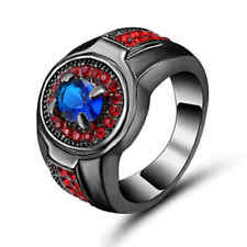Size 8 Blue Sapphire&red Wedding Ring 10KT Black Gold Filled Jewelry