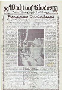 """Inselpost Rhodos Soldatenzeitung """"Wacht auf Rhodos"""" Weihnachtsausgabe 1944"""