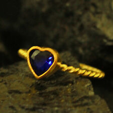 Handmade Twisted Band Heart Sapphire Ring Yellow Gold over 925K Sterling Silver