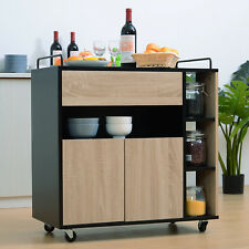 Rolling Kitchen Storage Trolley Cart Cupboard Island Shelves With Locking Wheels