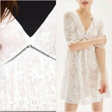 SALE Topshop White Pleated Lace Floral Short Sleeve Dress Size 14 US 10 ❤