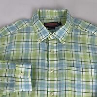 Vineyard Vines Button Down Murray Shirt Men's XL Linen Green Checks Long Sleeve