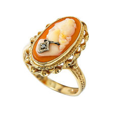 Vintage 14K Yellow Gold Cameo Stone Ring 4.2 Grams Size 9