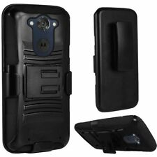 For Motorola Droid Turbo 2 Rugged Hybrid Hard Case Cover Holster Stand Black